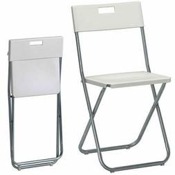 White Folding Chair Home Office Study Desk Padded Small Port